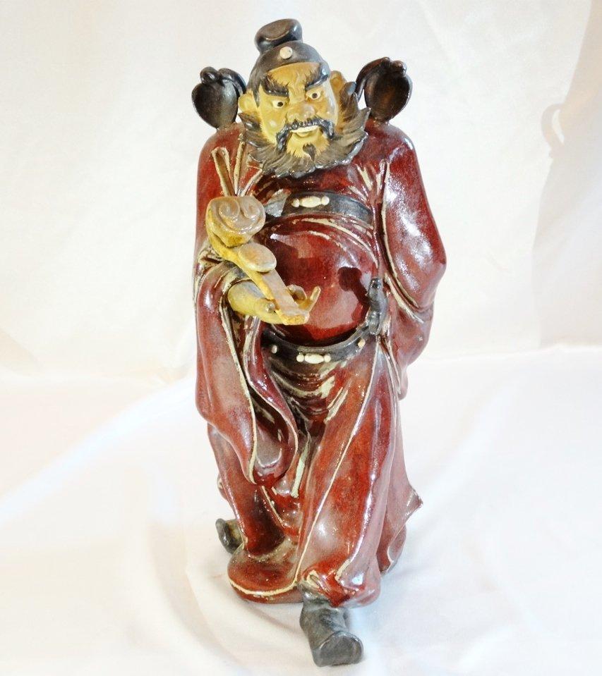 Ceramic Shiwan Pottery Stattuette W/Burgundy Glaze (Has