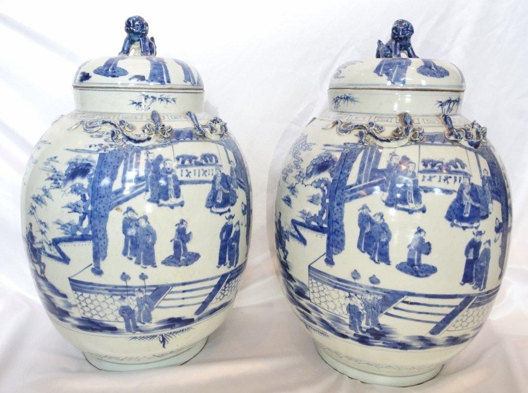 Pair of Blue & White Porcelain Covered Floor Jars