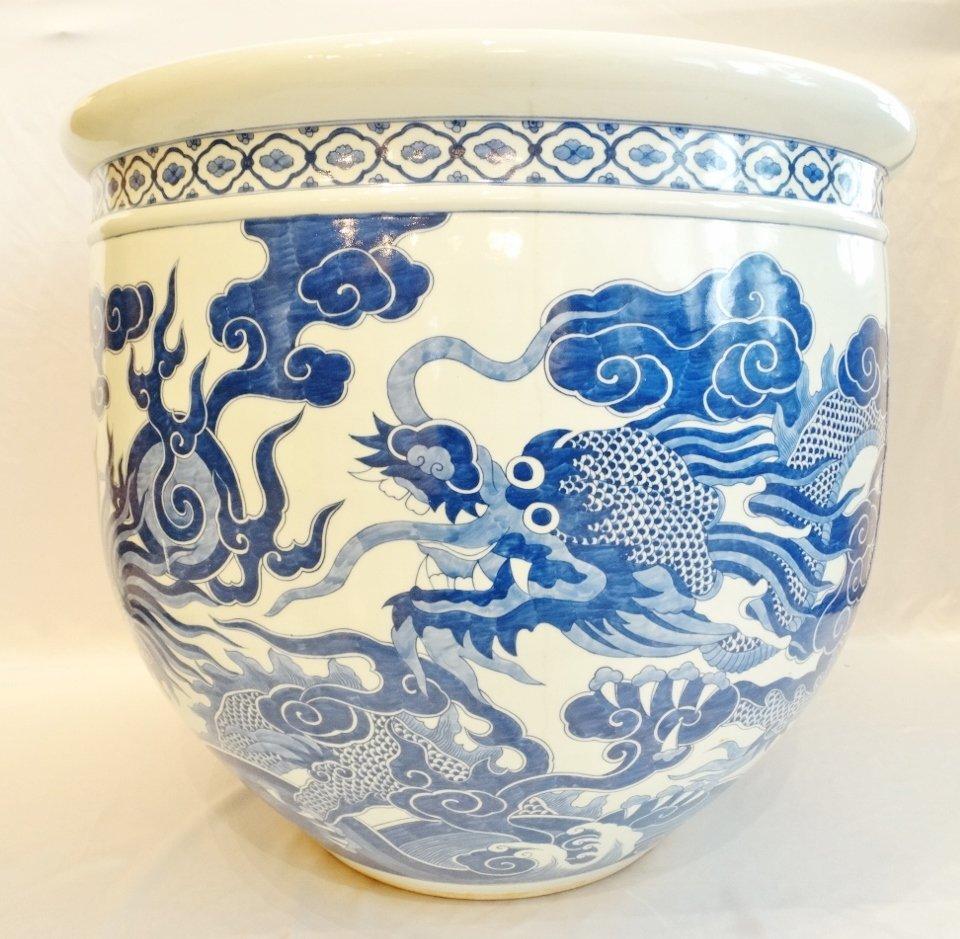 Large Blue & White Porcelain Fish Bowl W/Dragons,