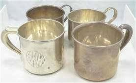 4 Sterling Silver Antique Cups Wallace  More