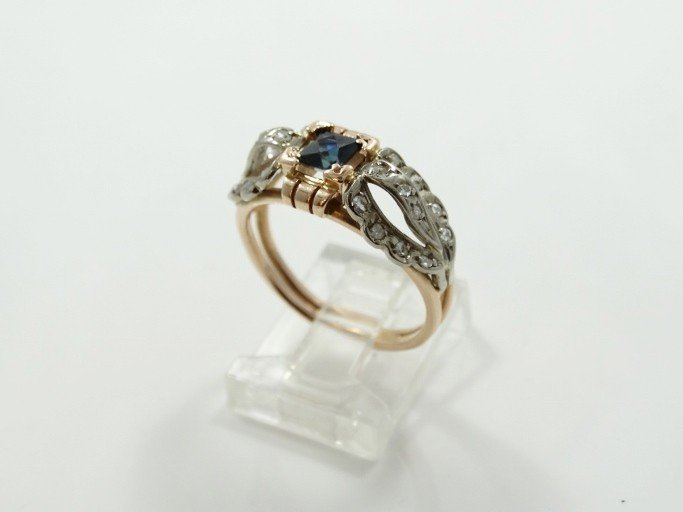 14K Gold Ring W/Blue Sapphire & Diam. Accents