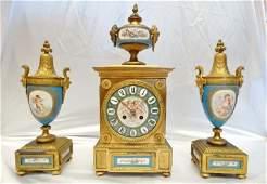 Sevres Bleu Porcelain & Gilt Bronze Clock & Urns