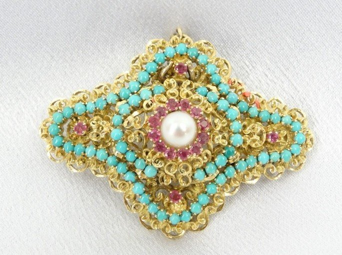 Solid 18K, Ruby, Turquoise, & 4MM Pearl Brooch