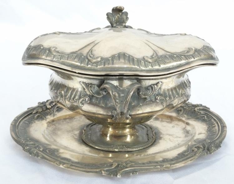 Rare 19th C. French Sterling Silver Gravy Boat