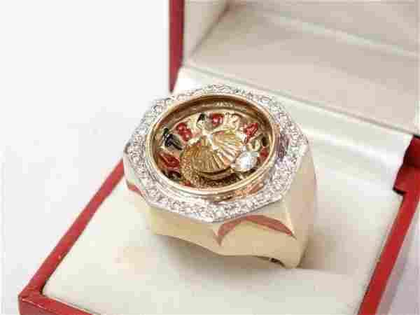 Men's 14K Roulette Ring W/1.00CTW Diamond Accents