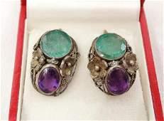 Victorian Silver14KRaw EmeraldAmethyst Earrings