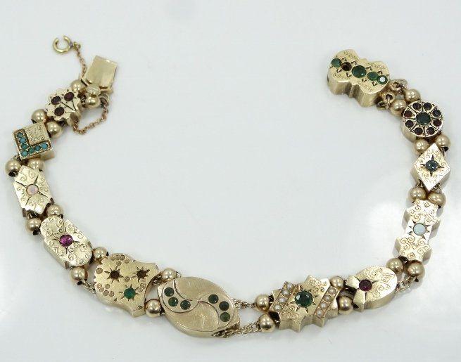 Victorian 14K Charm Bracelet w/MOP, Rubies, & More