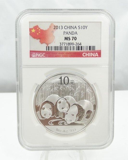 2013 China 1 Oz. Silver Panda 10Y Coin MS70 NGC