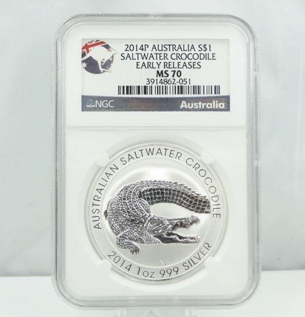 2014 Australia Silver Saltwater Crocodile MS70 NGC