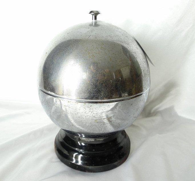 Art Deco Chrome Sphere 6 Shot Decanter W/6 Glasses