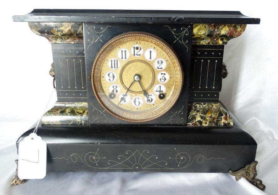 Antique French Wood Mantel Clock W/Bronze Feet