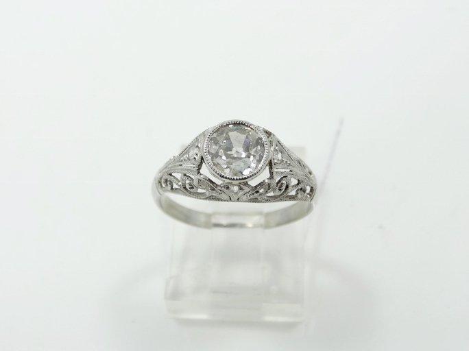 1.05CT Mine-Cut Diamond in Platinum Filigree Band - 2