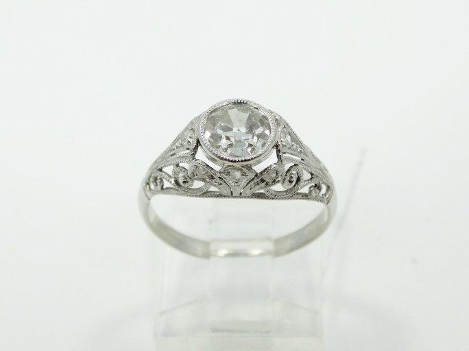 1.05CT Mine-Cut Diamond in Platinum Filigree Band - 3
