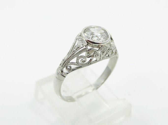 1.05CT Mine-Cut Diamond in Platinum Filigree Band - 4
