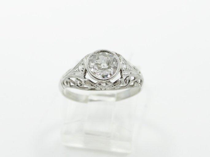 1.05CT Mine-Cut Diamond in Platinum Filigree Band - 5