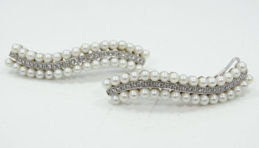 1920's 18K WG Hair Clips W/2CTW Diamonds & Pearls