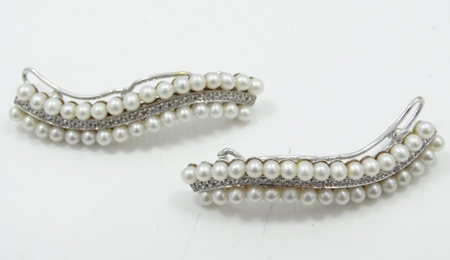1920's 18K WG Hair Clips W/2CTW Diamonds & Pearls - 2