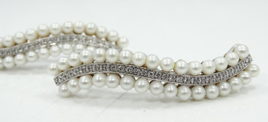 1920's 18K WG Hair Clips W/2CTW Diamonds & Pearls - 3