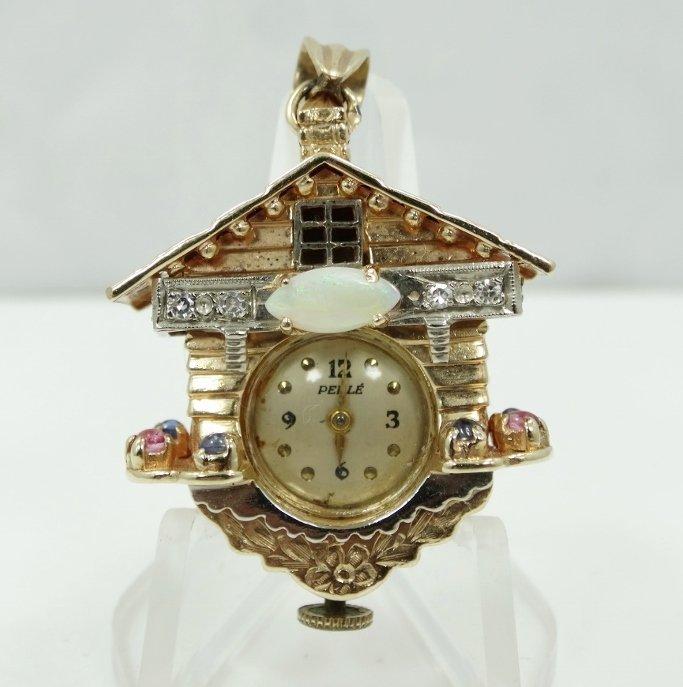 "14K YG Perle ""Cukoo Clock"" Pendant W/Diam. & More"