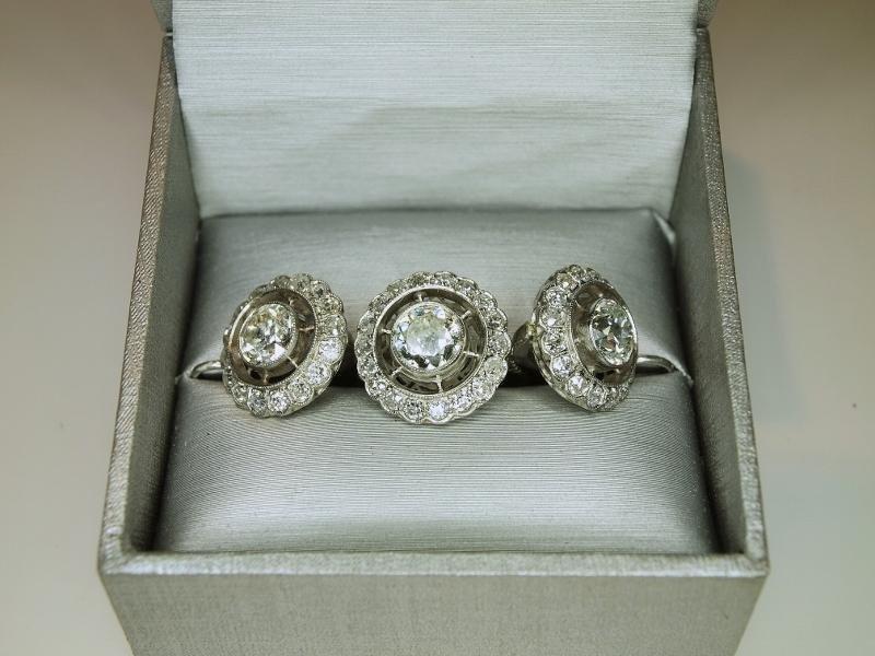 Faberge 2.00CTW Mine-Cut Diam./Plat. Ring & Earrings
