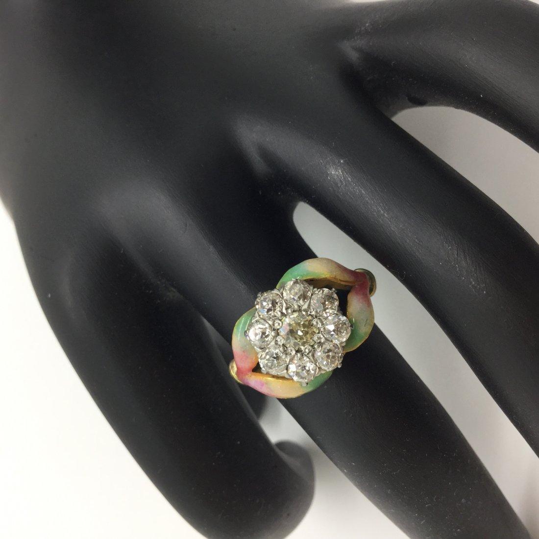 Faberge 1.90CTW Mine-Cut Diam./18K YG/Enamel Ring