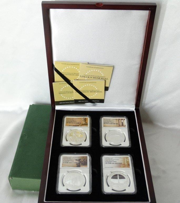 2015 Set of 4 1 Oz. Proof Slvr Coins PF70 UC NGC