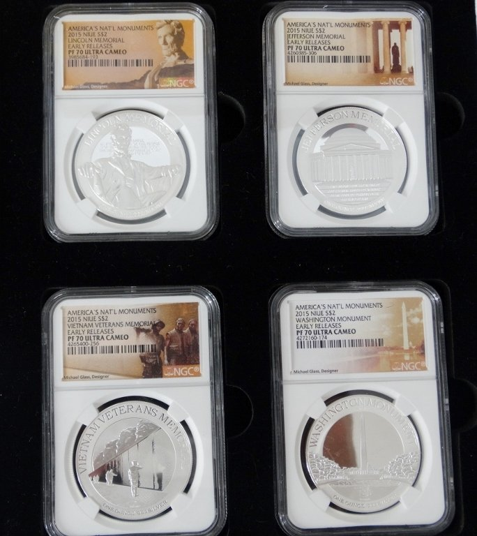 2015 Set of 4 1 Oz. Proof Slvr Coins PF70 UC NGC - 2
