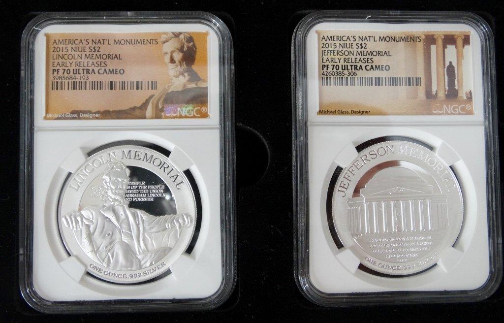 2015 Set of 4 1 Oz. Proof Slvr Coins PF70 UC NGC - 3