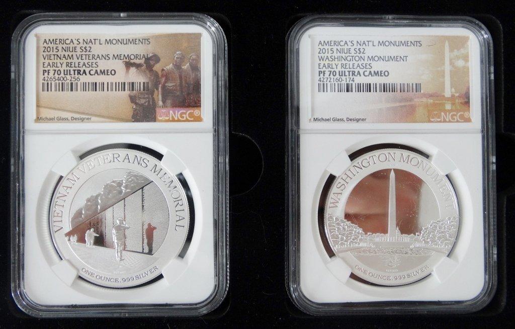 2015 Set of 4 1 Oz. Proof Slvr Coins PF70 UC NGC - 4