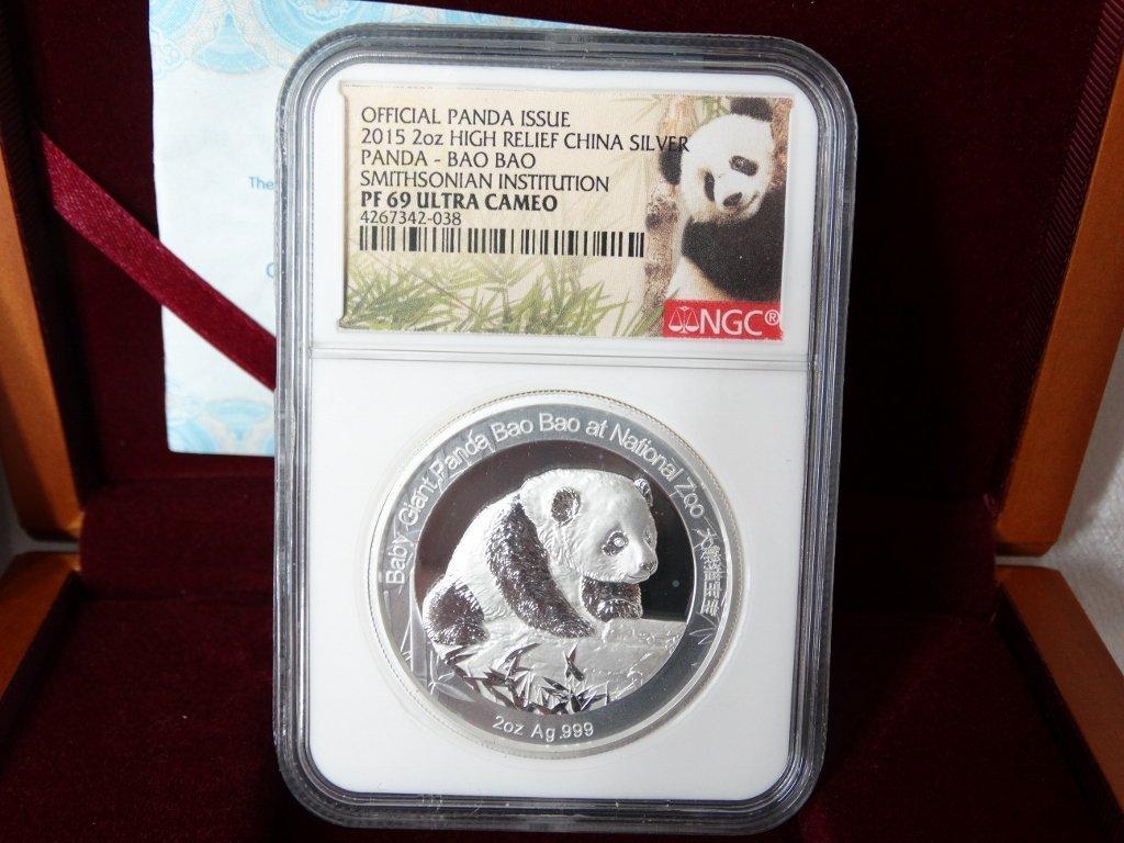 2015 China 2 Oz. Silver Panda Bao Bao PF69 UC NGC - 2