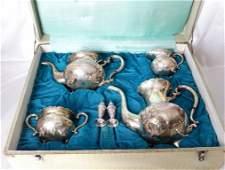 19th C. 4-Piece 950 Silver Tea Set (2339.7 Grams)
