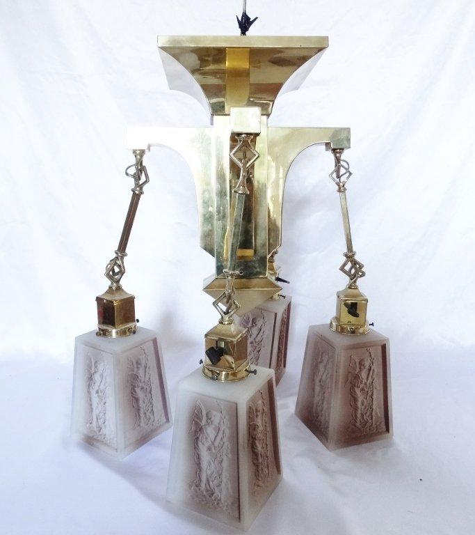 Art Deco Brass Four-Arm Chandelier W/Milk Glass