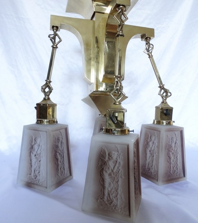 Art Deco Brass Four-Arm Chandelier W/Milk Glass - 2