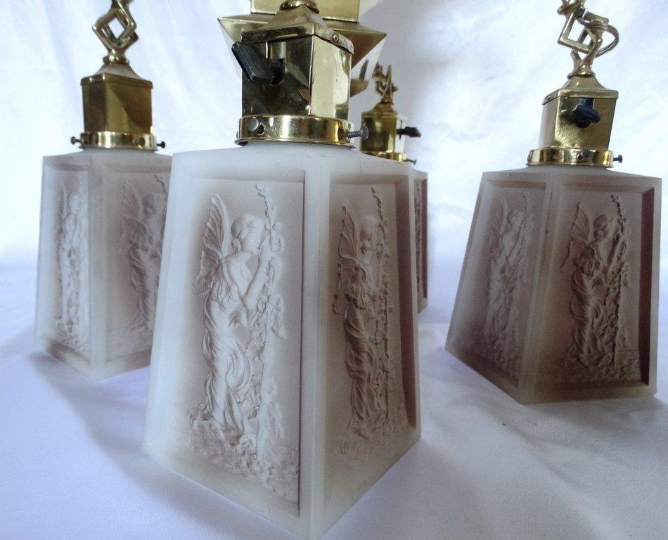 Art Deco Brass Four-Arm Chandelier W/Milk Glass - 3