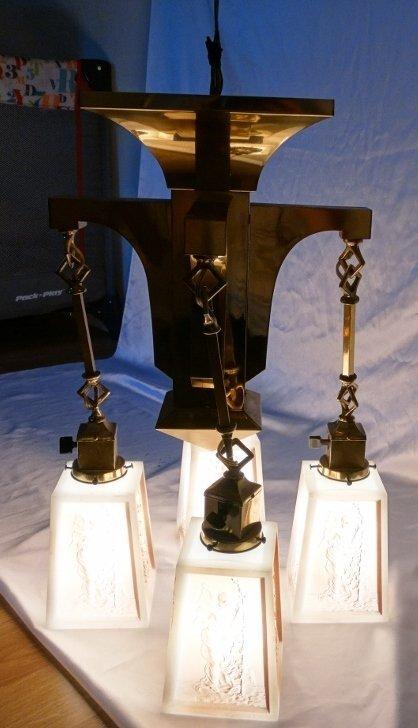 Art Deco Brass Four-Arm Chandelier W/Milk Glass - 4