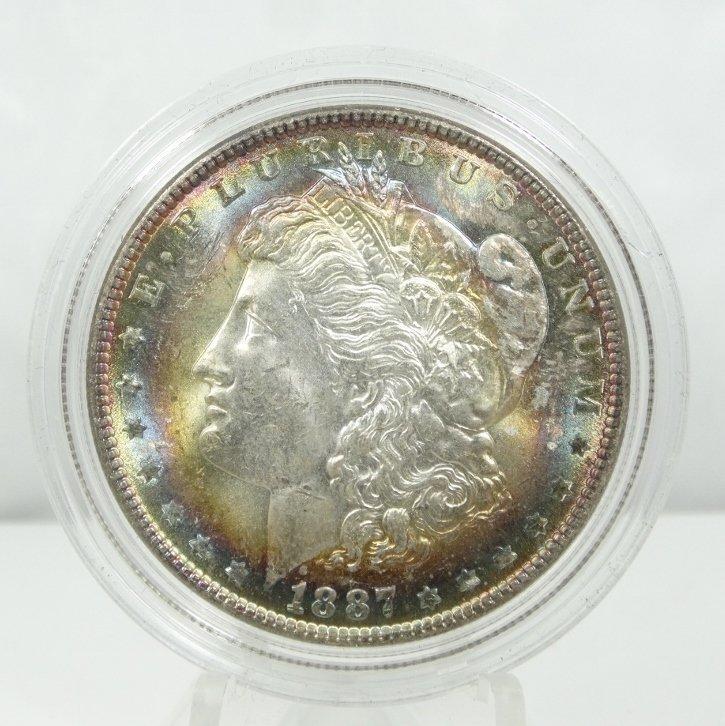 1887-P Morgan Dollar W/Obverse & Reverse Toning