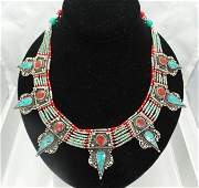 Antique Sterling Silver Turquoise  Coral Necklace