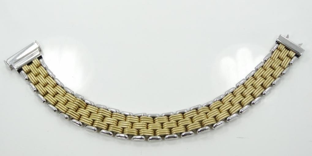 18K Wht/Yellow Gold 22MM Wide Brick Link Bracelet