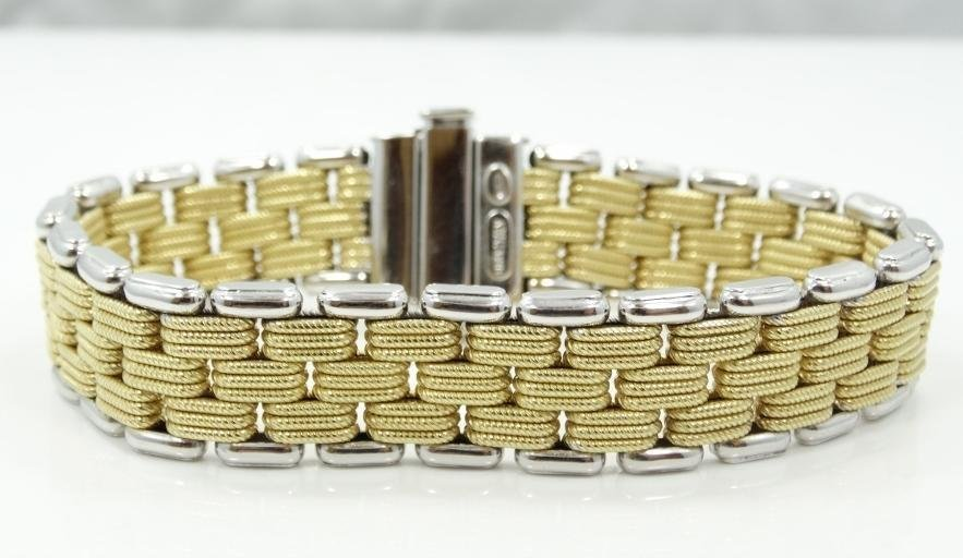18K Wht/Yellow Gold 22MM Wide Brick Link Bracelet - 3
