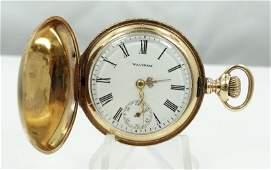 1902 Waltham Solid 14K YG Pocket Watch Working