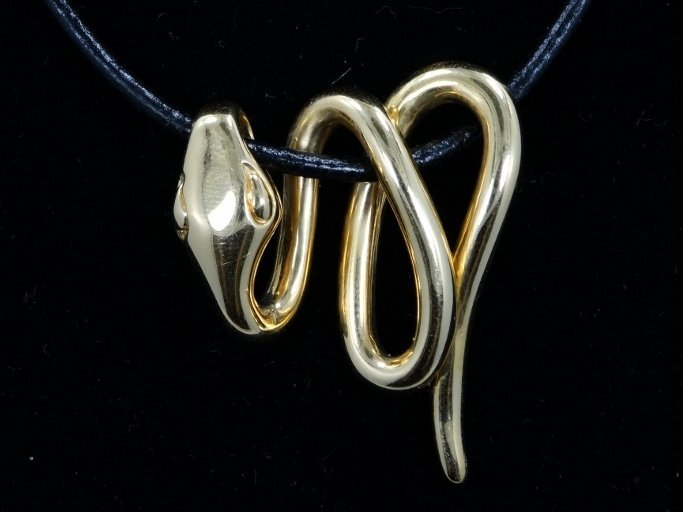 Pompei 14K Snake Pendant/Cord Necklace W/14K Clasp - 2