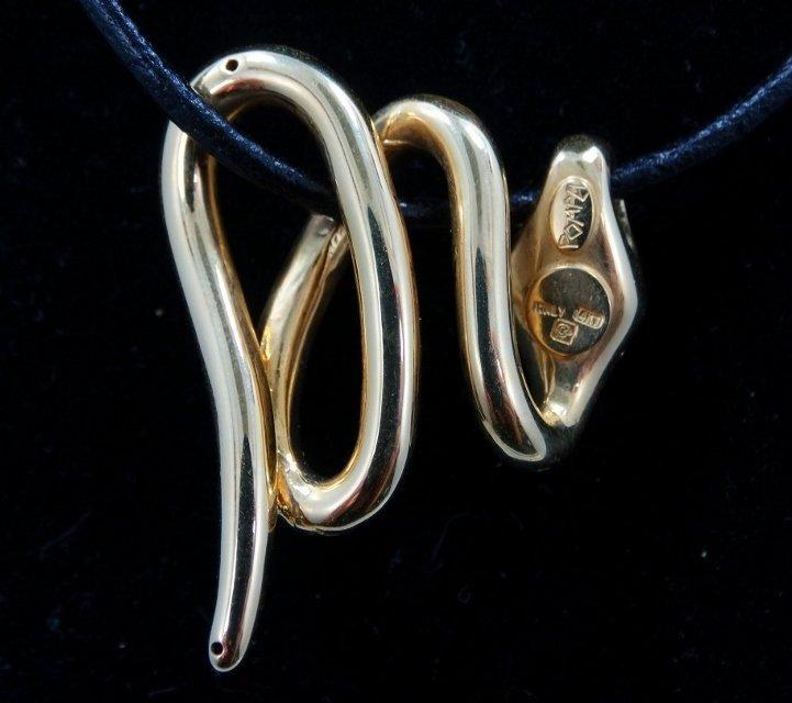 Pompei 14K Snake Pendant/Cord Necklace W/14K Clasp - 3