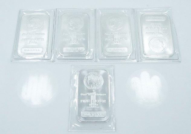"(5) APMEX 1 Troy Oz .999 Silver ""Morgan"" Bars"