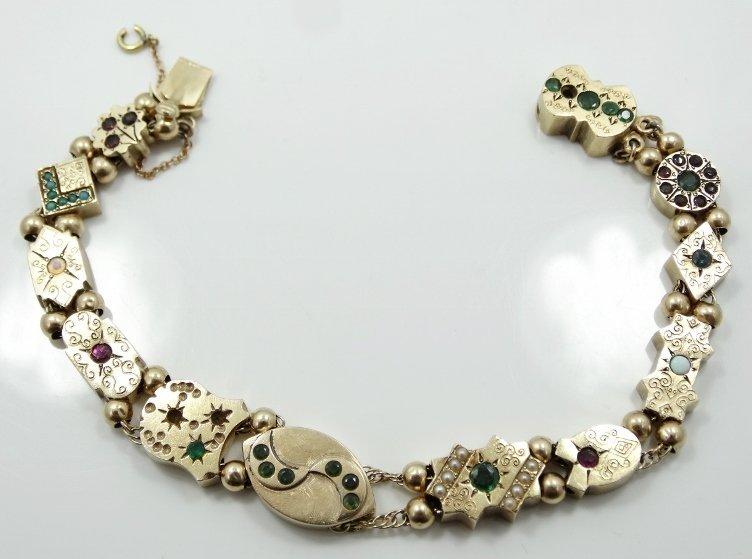 Victorian 14K Charm Bracelet w/MOP, Rubies, & More - 3