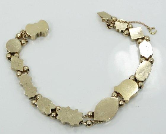 Victorian 14K Charm Bracelet w/MOP, Rubies, & More - 4
