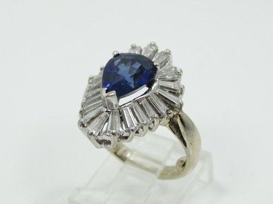 2.00CTW Diam./2.00CT Blue Sapphire/14K Ring *NICE*