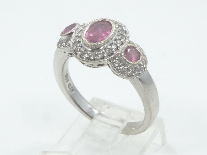 0.70CTW Pink Tourmaline, 0.35CTW Diam. & 14K Ring