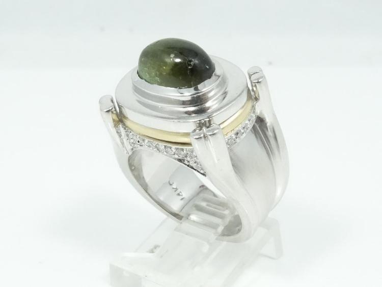 3.50CT Tzavorite Garnet/0.30CTW Diamond/14K Ring