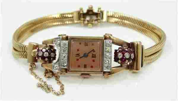 1930's 18K RG Watch W/1.00CTW Rubies/1.05CTW Diam.