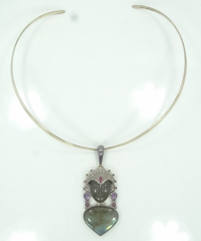 Sajen .925 Silver Necklace & Obsidian Goddess